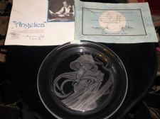 LIMITED EDITION SIGNED MORGANTOWN CRYSTAL GLASS DISPLAY PLATE ANGELICA + CERTS